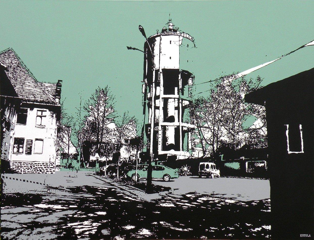 Wieża ciśnień, 100x130 akryl płótno 2009