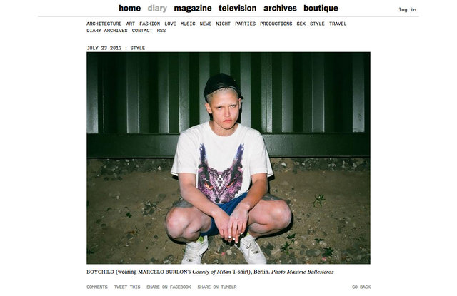 purple DIARY   Boychild nbsp  wearing Marcelo Burlon s County of Milan T shirt   Berlin. Photo Maxim