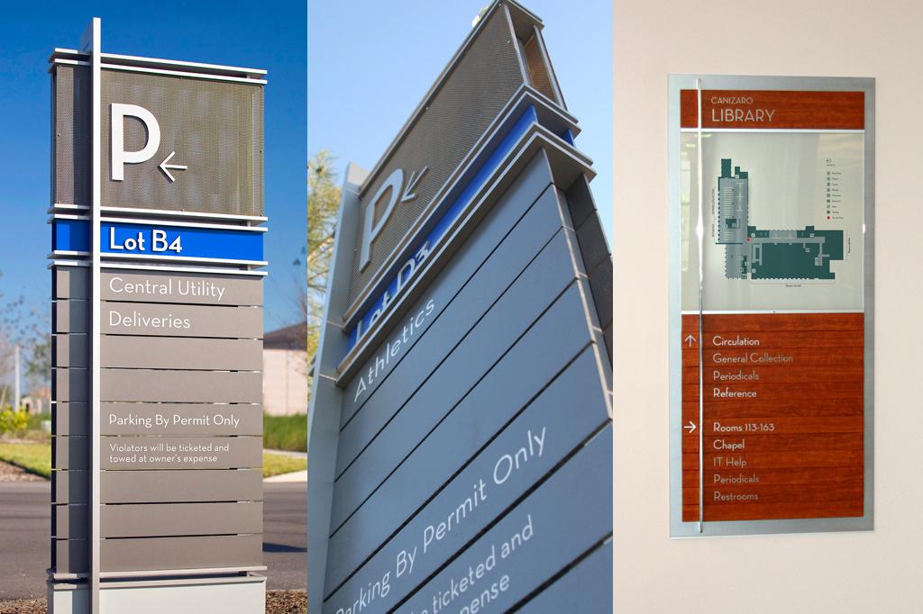 Exterior and interior signage program