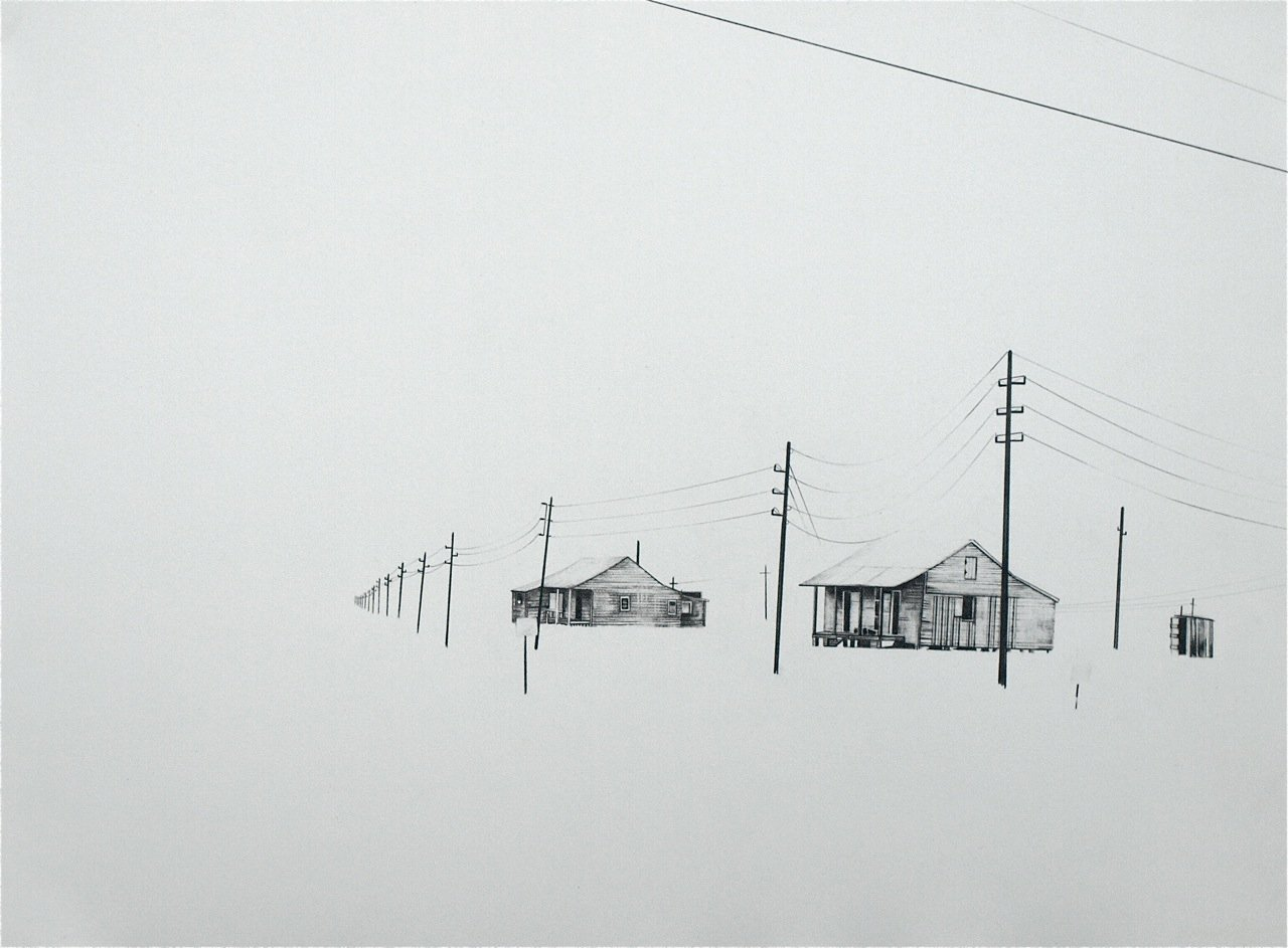 Old River Road, Louisiana 2, 2010, graphite on paper, 12 x 16""