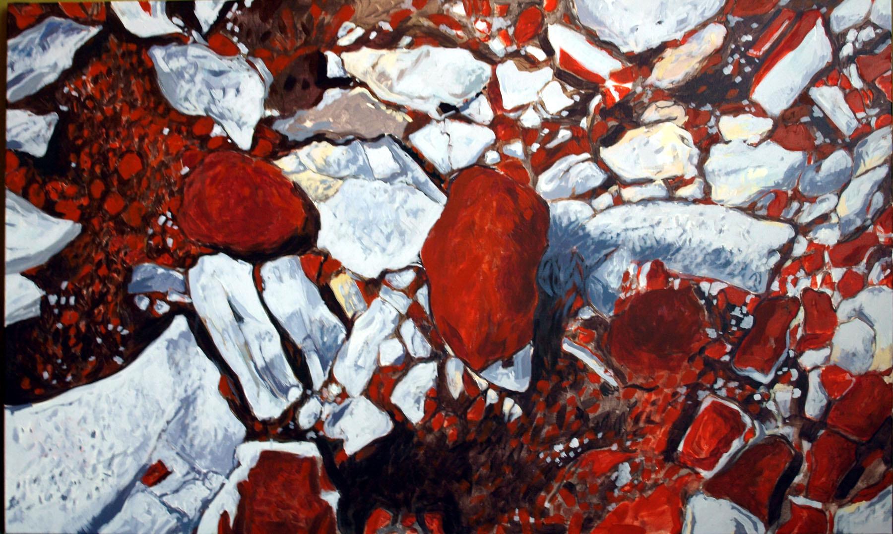 Czerwone kamienie, akryl, płótno, 108x65