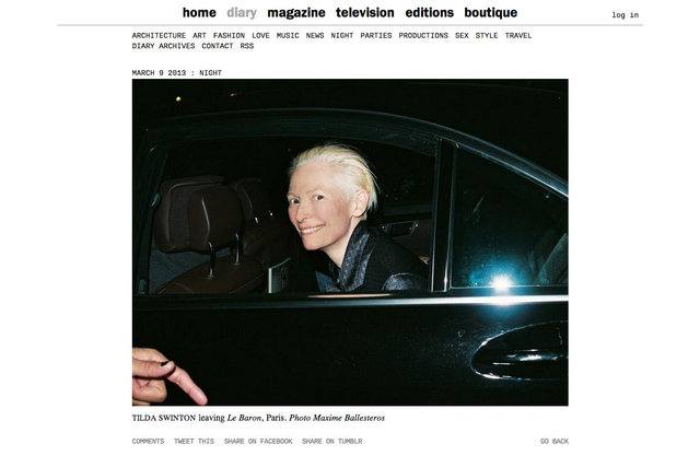 purple DIARY   Tilda Swinton leaving Le Baron  Paris. Photo Maxime.jpg