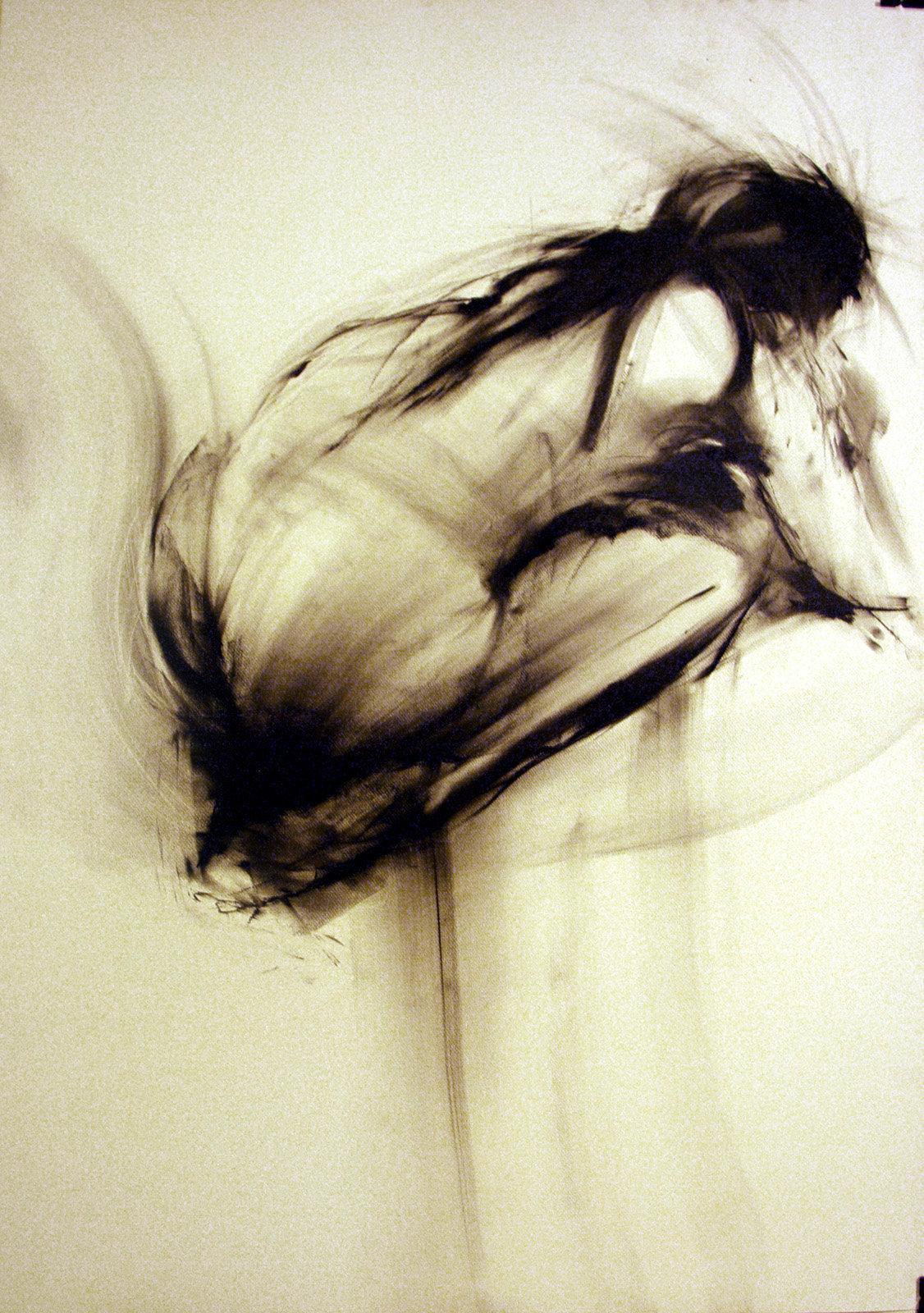 Kobieta skulona, rys. węglem 70x100 2009