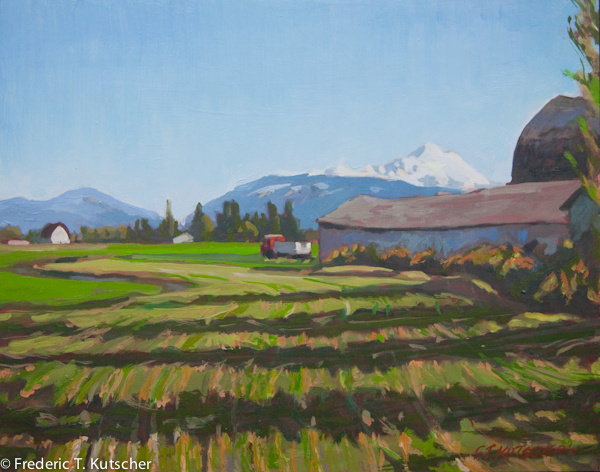 Skagit Farm - May Morning, View to Mt. Baker