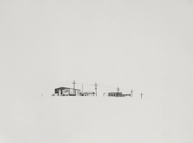 West Texas on I-10 2, 2009, graphite on paper, 12 x 16""