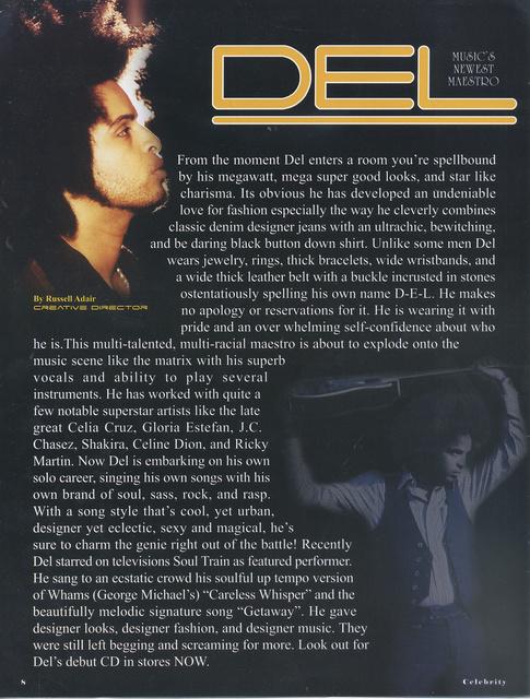 """ATTITUDE MAGAZINES FEATURES- recording artist, singer""""DEL"""""""