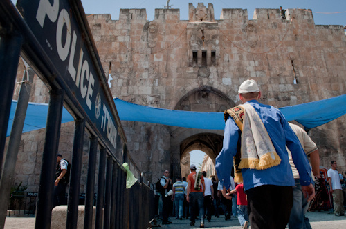 Porte des Lions, vieille ville de Jérusalem, dernier vendredi du ramadan