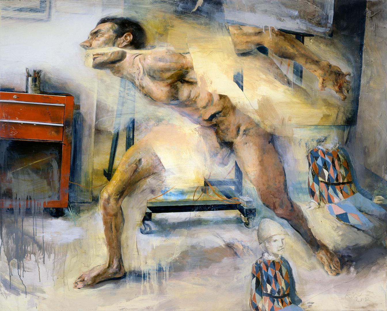 Fragmented Figure in Studio Interior