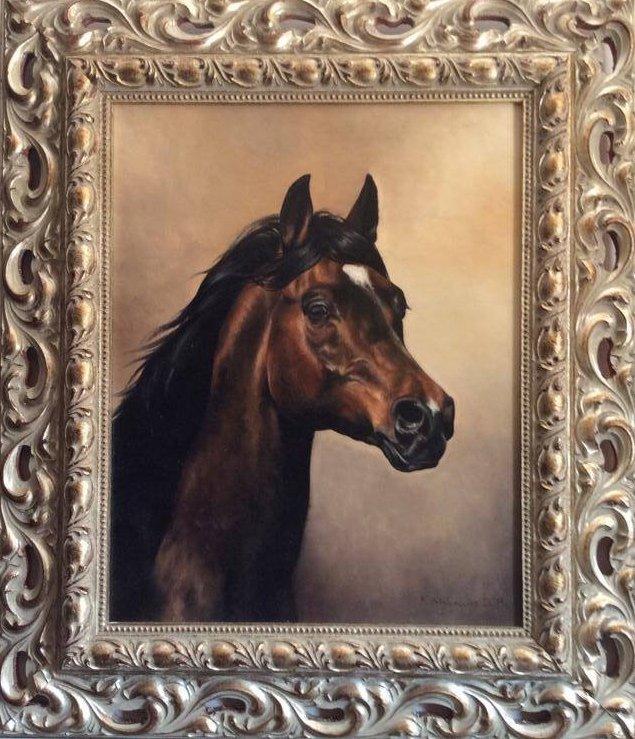 Portret konia 41x31,5 olej deska