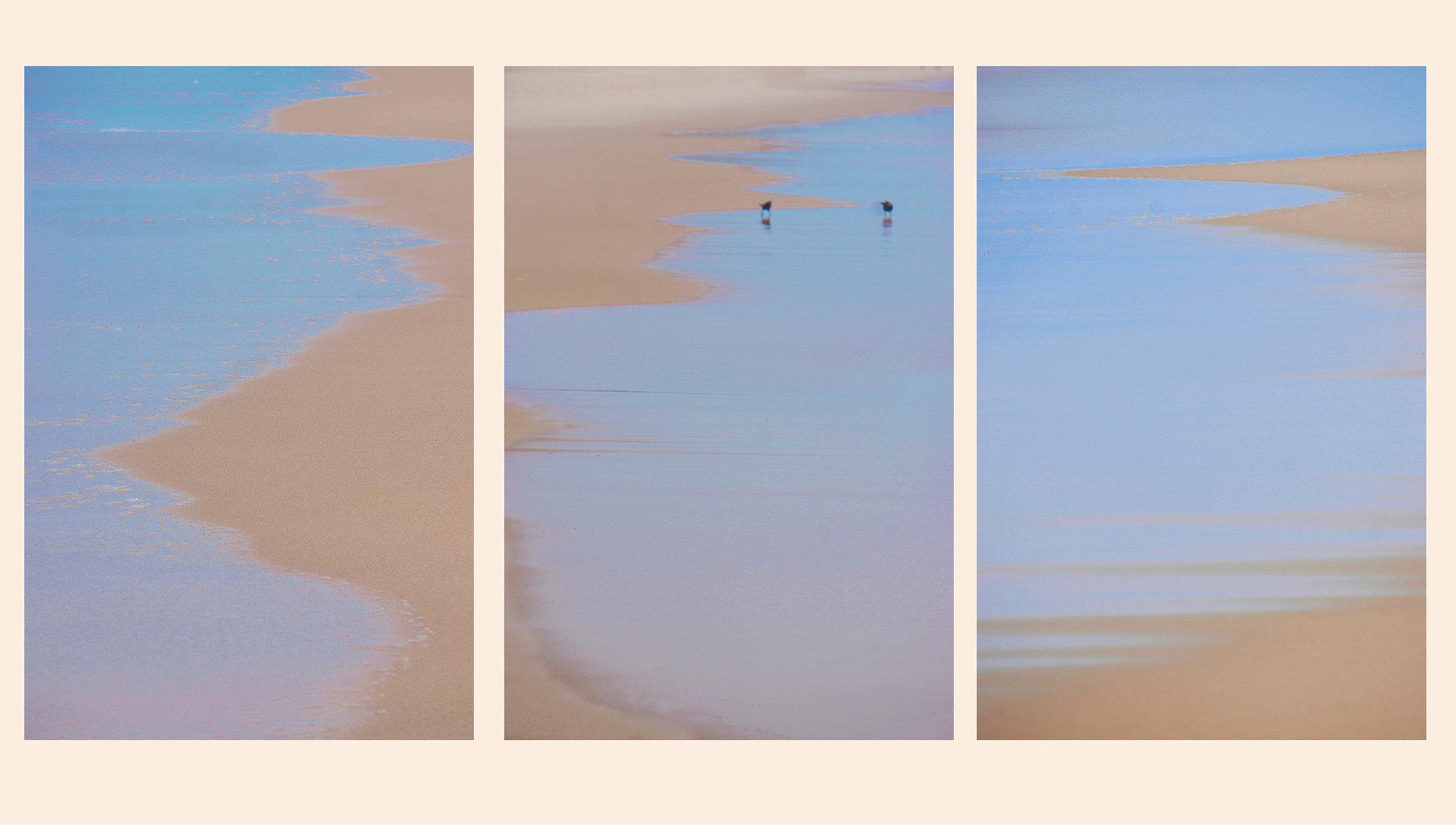 Triptych, sky blue