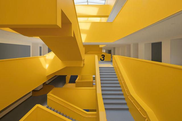"""(摄影师夏至)崇文21_中轴线的楼梯群-""""山峰"""",在阳光照耀下熠熠生辉.jpg"""
