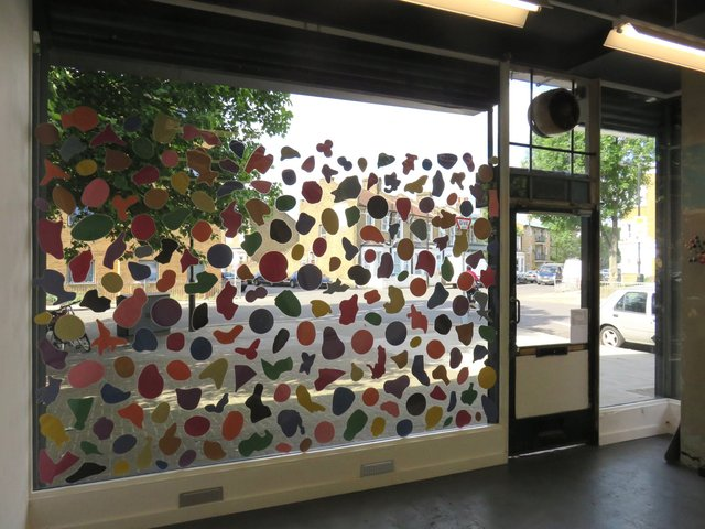 Kinder 2017, laminated paper and BluTak on gallery window(inside).jpg
