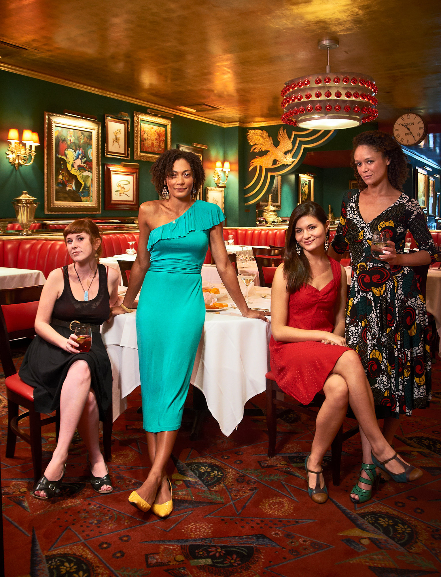 Philip Soo and the women of The Great Comet of 1812, at the Russian Tea Room