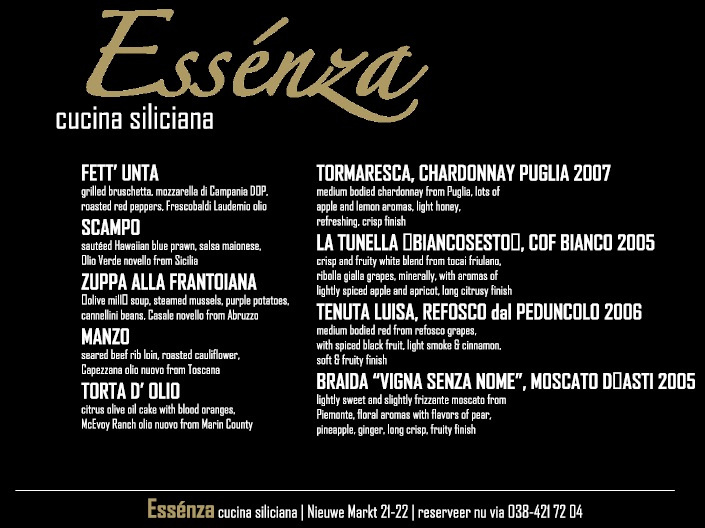 Concept menucard design for Essenza
