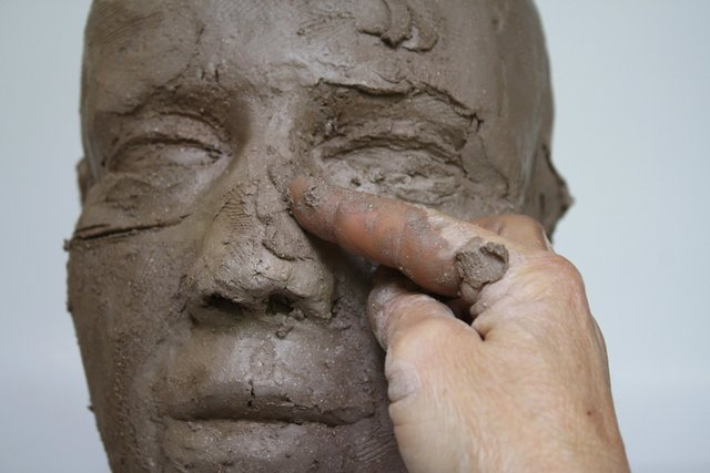 broaden the nose bridge by adding and blending in extra clay