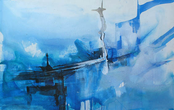 """Beyond the Blue""  31.5""X 49""  Acrylic on Canvas (Sold)"