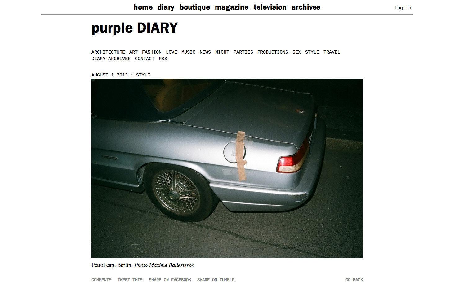 purple DIARY   Petrol cap  Berlin. Photo Maxime.jpg