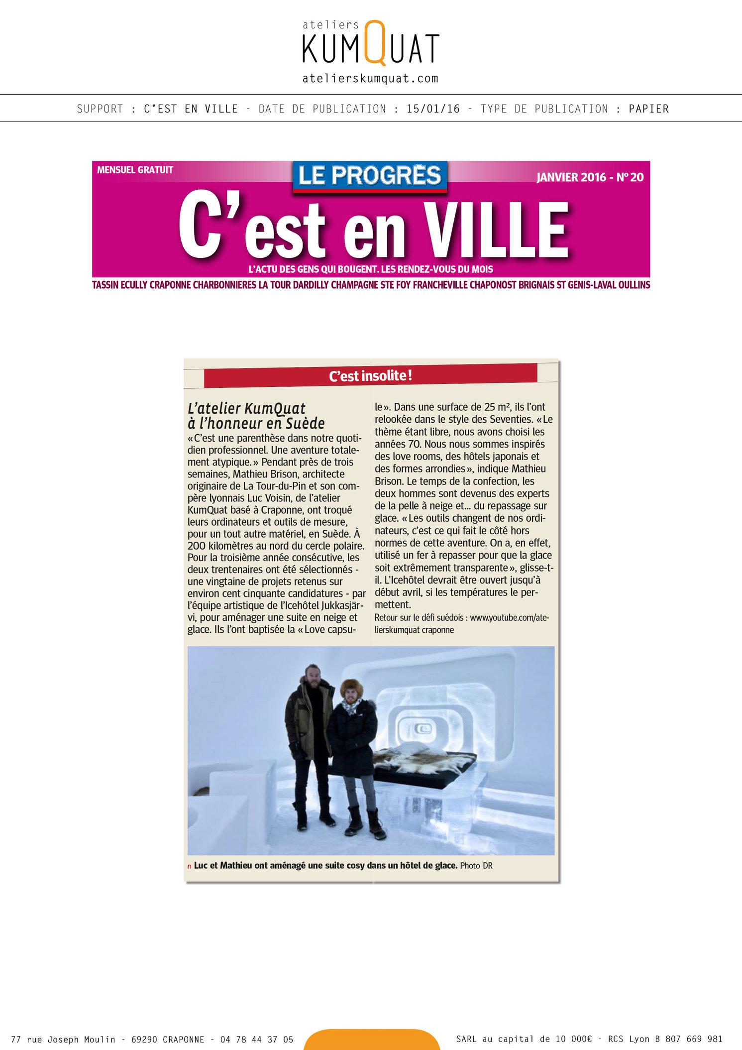 C'EST EN VILLE - 15/01/16