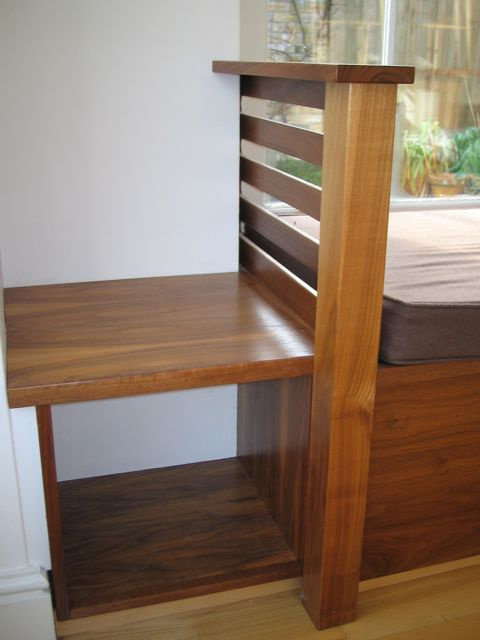 Window seat - Lacquered American Walnut, open shelves at ends