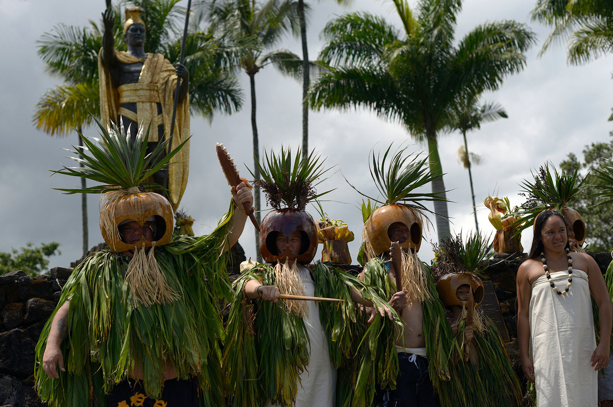 Warriors in traditional Hawaiian regalia