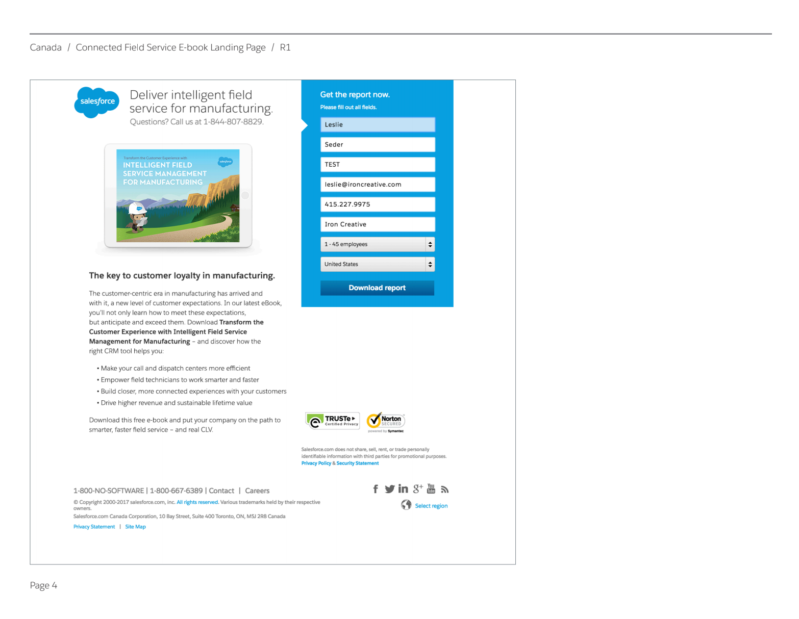 Salesforce Canada Landing Page