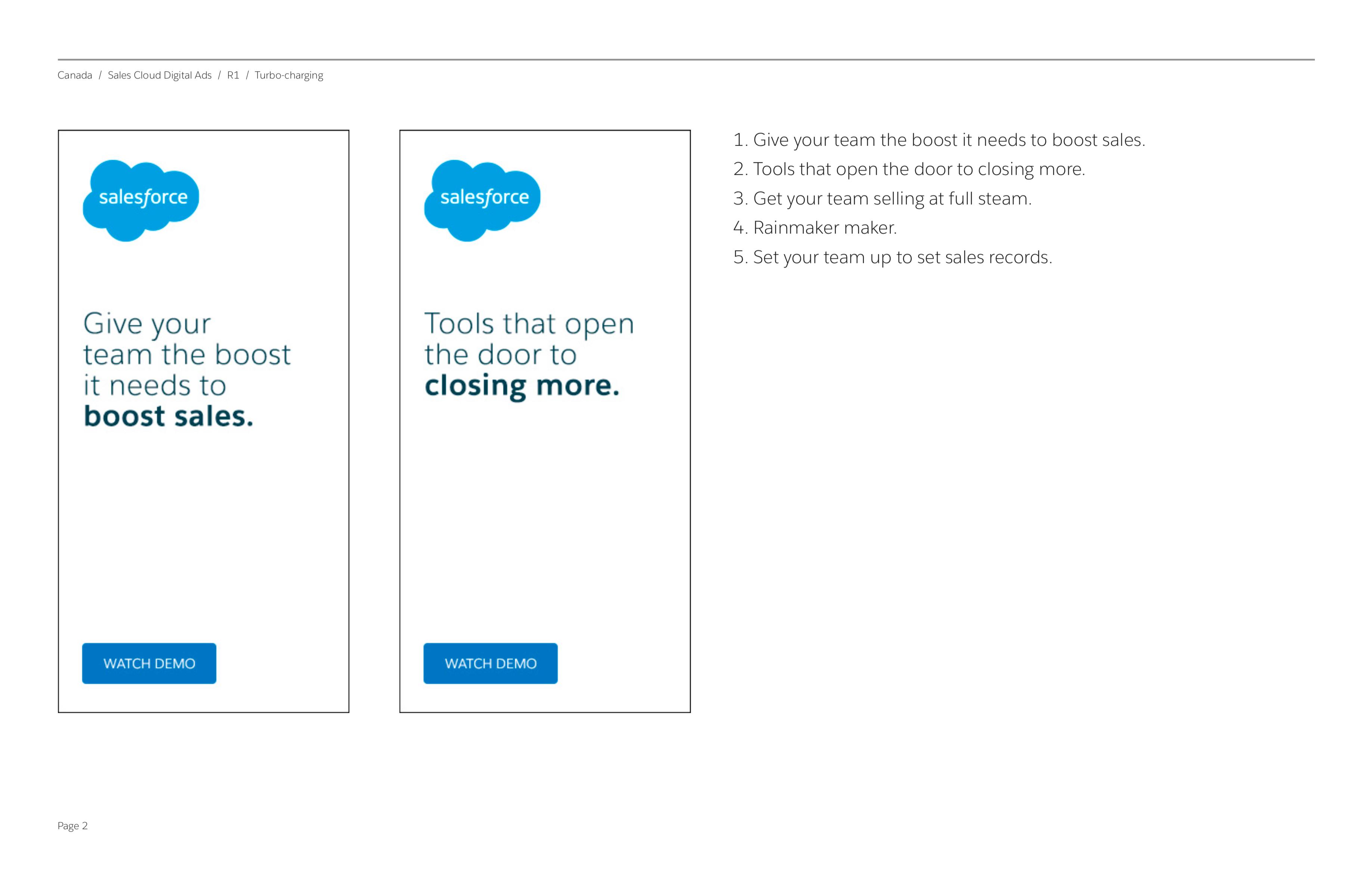 "Salesforce Canada Display Ads / ""Turbo Charge"""
