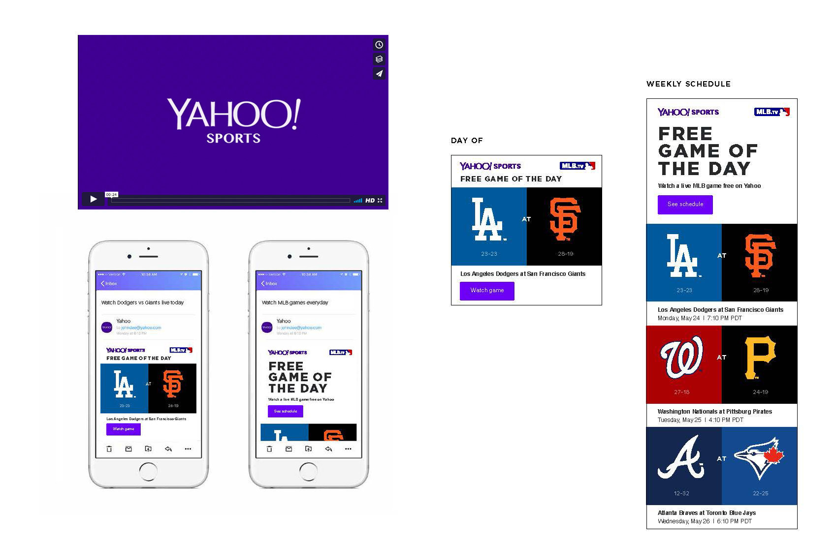 Yahoo! MLB GOTD / Video, Social, Email
