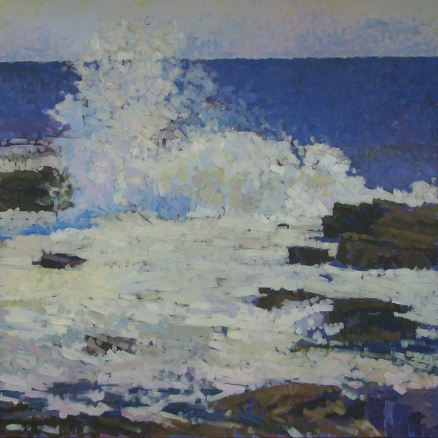 "Afternoon Wave Near East Point, 2013, Acrylic on Canvas, 48"" x 48"""