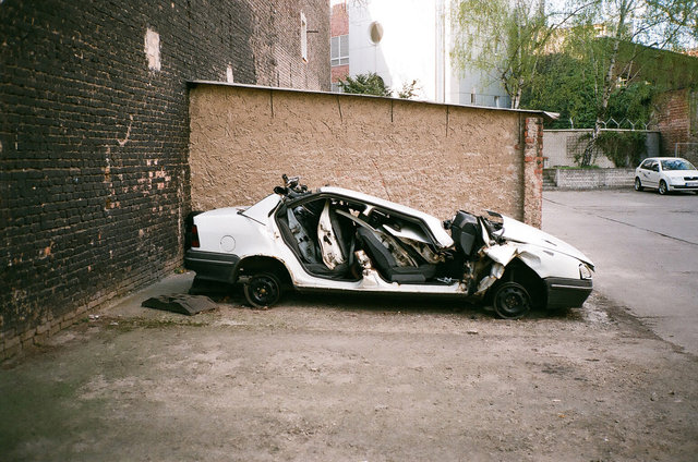 crashed car on a parking, Berlin