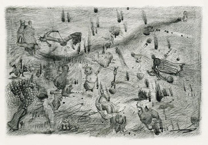 "6. ""War breaks out in my little world""  Pastel, conte & ink on paper 10x15cm 2010"