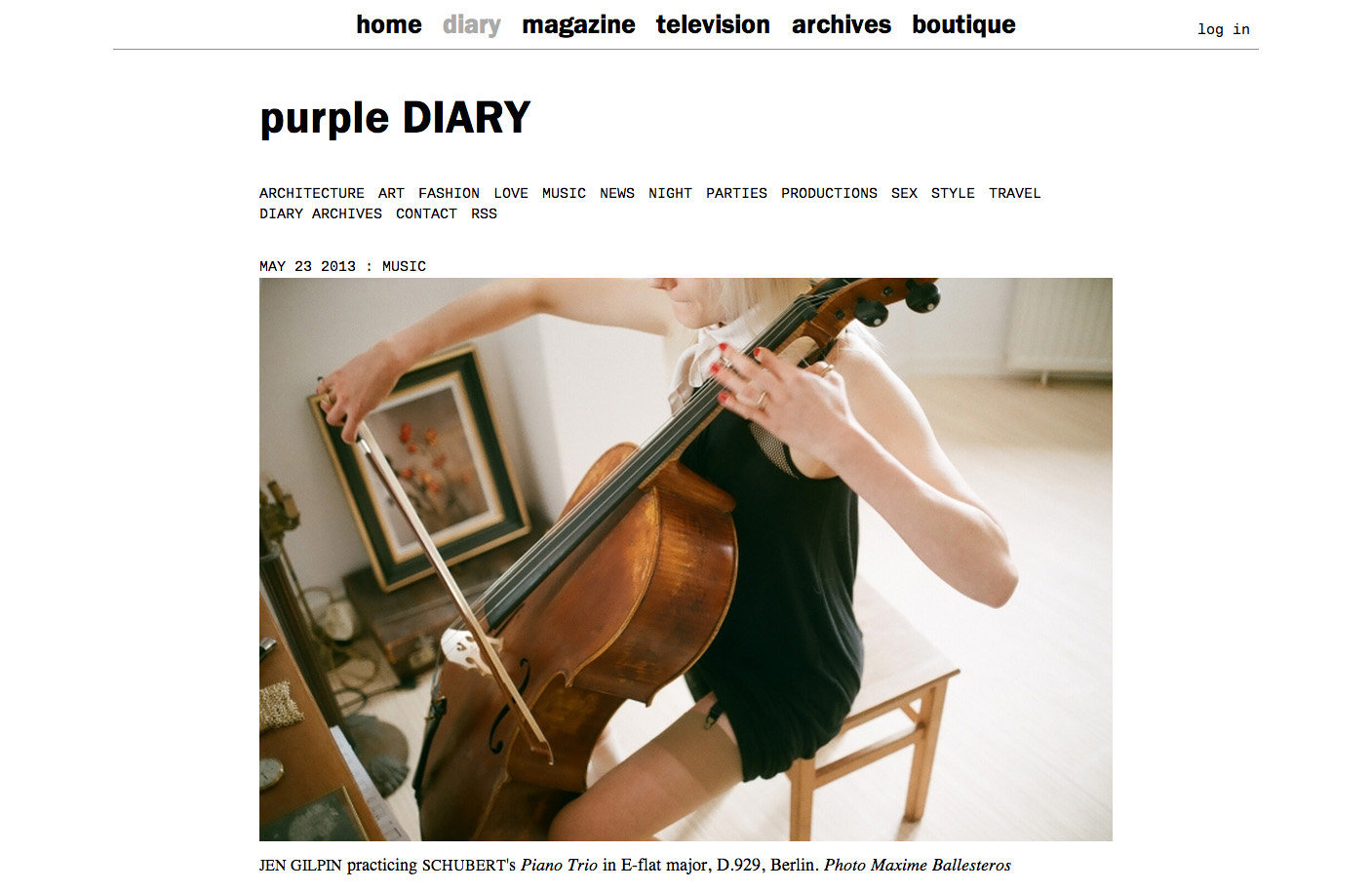 purple DIARY   Jen Gilpin practicing Schubert s Piano Trio in E flat major  D.929  Berlin. Photo Max