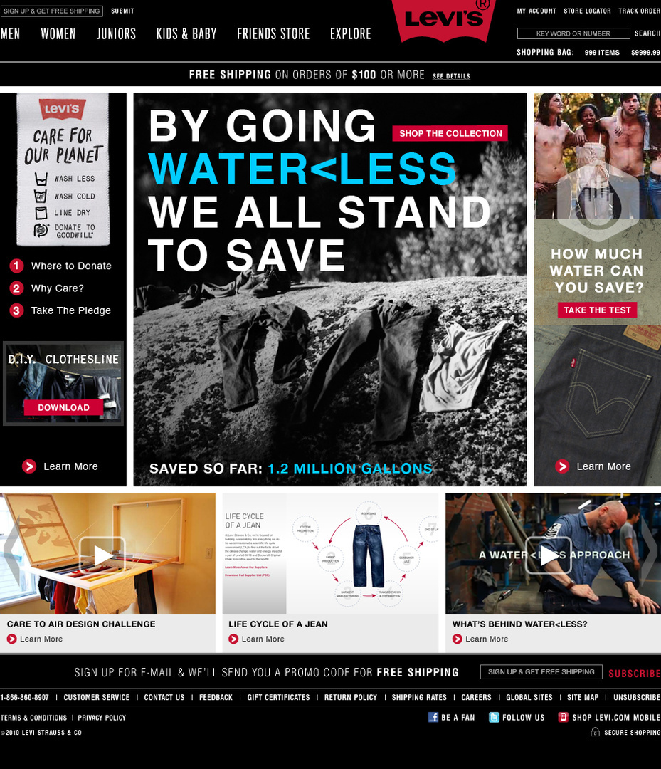 Levis / Waterless Jeans Landing Page