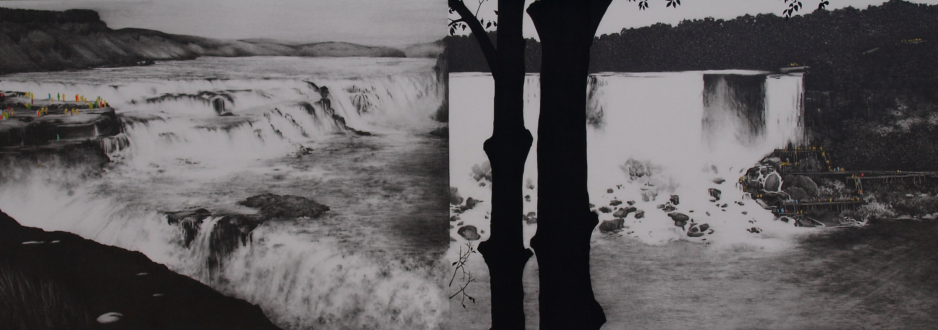 The Falls, 2014, gouache and graphite on paper, 38 x 16""