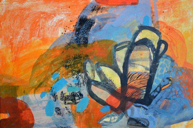 Ogród Nowego - piasek 40x60 akryl płótno 2014