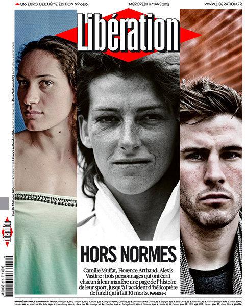 Portrait de Camille Muffat (à gauche) en une de Libération