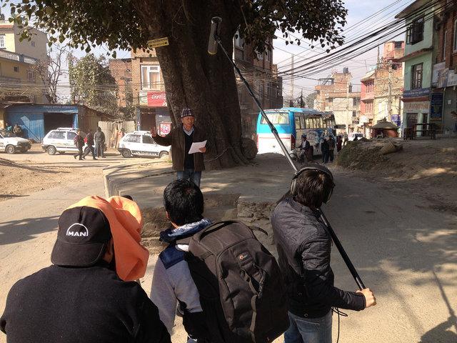 Filming Nepali poet Shrawan Mukarung in Kathmandu in 2013
