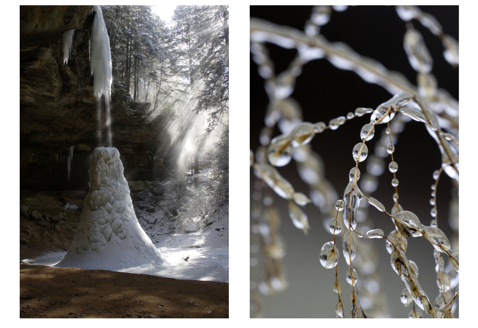 (left) Ash Cave, Ohio (right) Ice Beads, Ohio