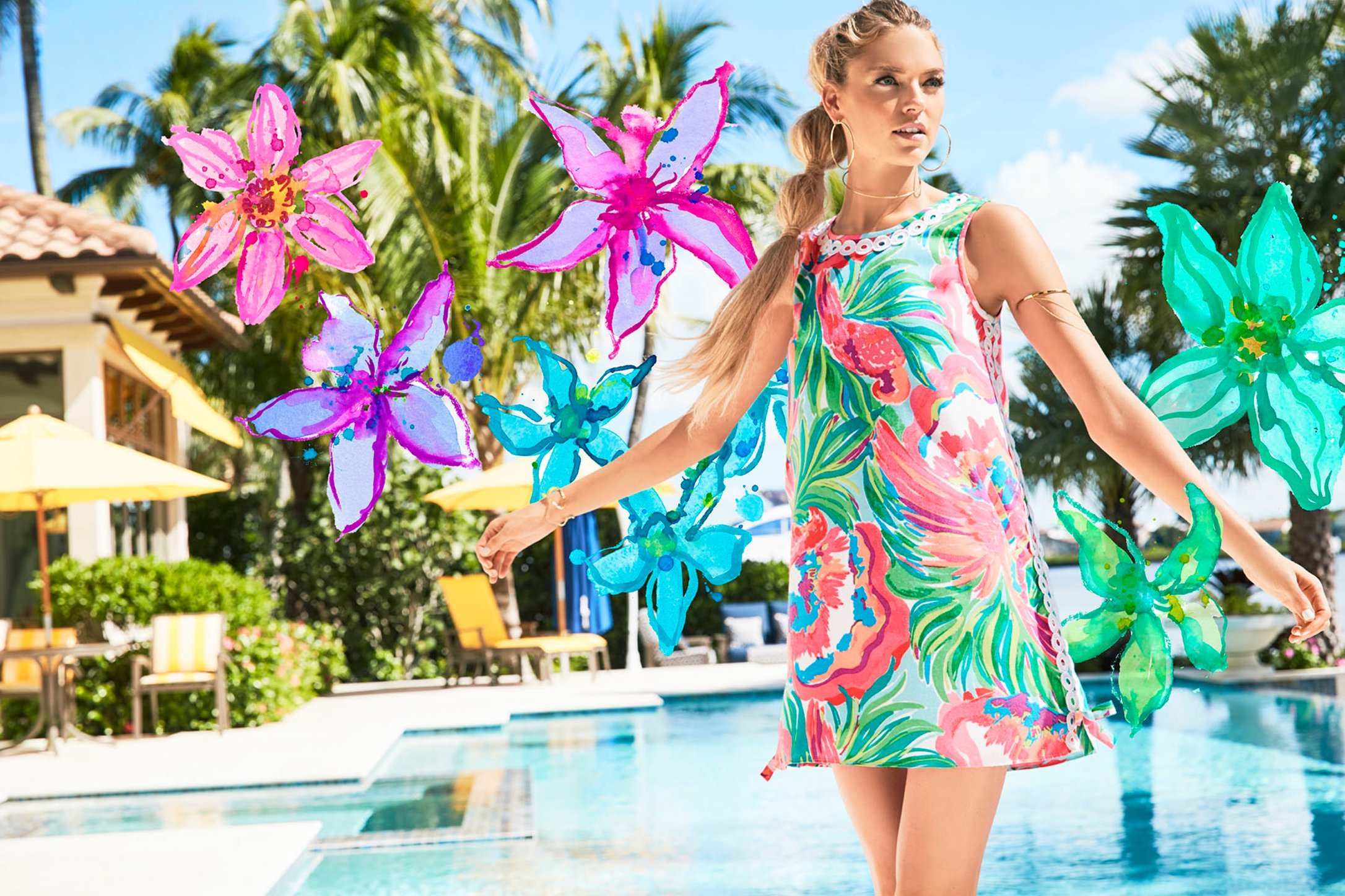 Lilly Pulitzer with Martha Hunt 2017 Shot by Ben Watts