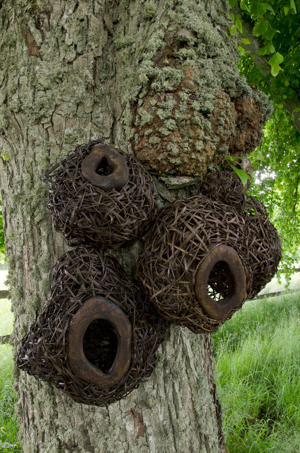 Installation from wood and rattan on the trees of the alley in Nääs, Sweden. 2015