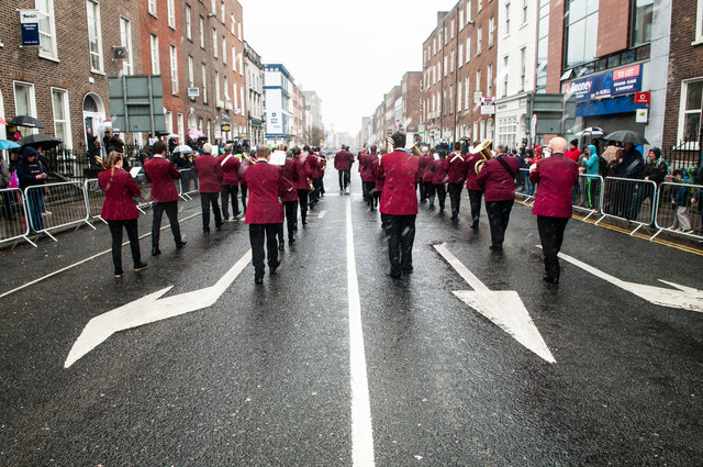 Band marching away
