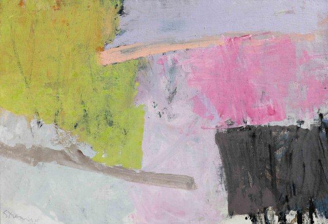Paysage abstrait vert et rose