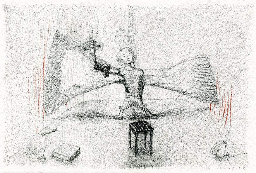 """11. """"Helmut"""" Pastel, conte, & coloured pencil on paper, 10x16cm, 2009"""