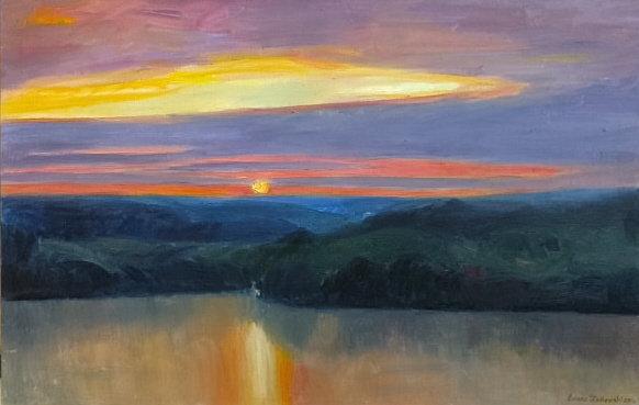 Zachód słońca, 110x70 olej płótno