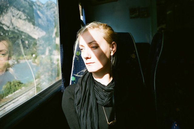 Jen as her own sundial, stopping time in the train, Provence, 2010.jpg