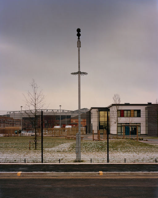 CCTV camera and high security fencing, Four Oaks Primary School, LIverpool, 2012