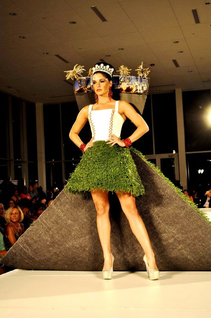 CHARLOTTE FASHION WEEK recyclable fashion design featuring model Victoria V.