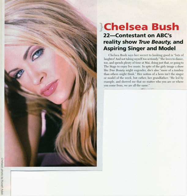 "CHELSEA BUSH - 25 MOST BEAUTIFUL IN NASHVILLE  an one of the stars of ABC's ""TRUE BEAUTY"" she has also been on THE TYRA SHOW."