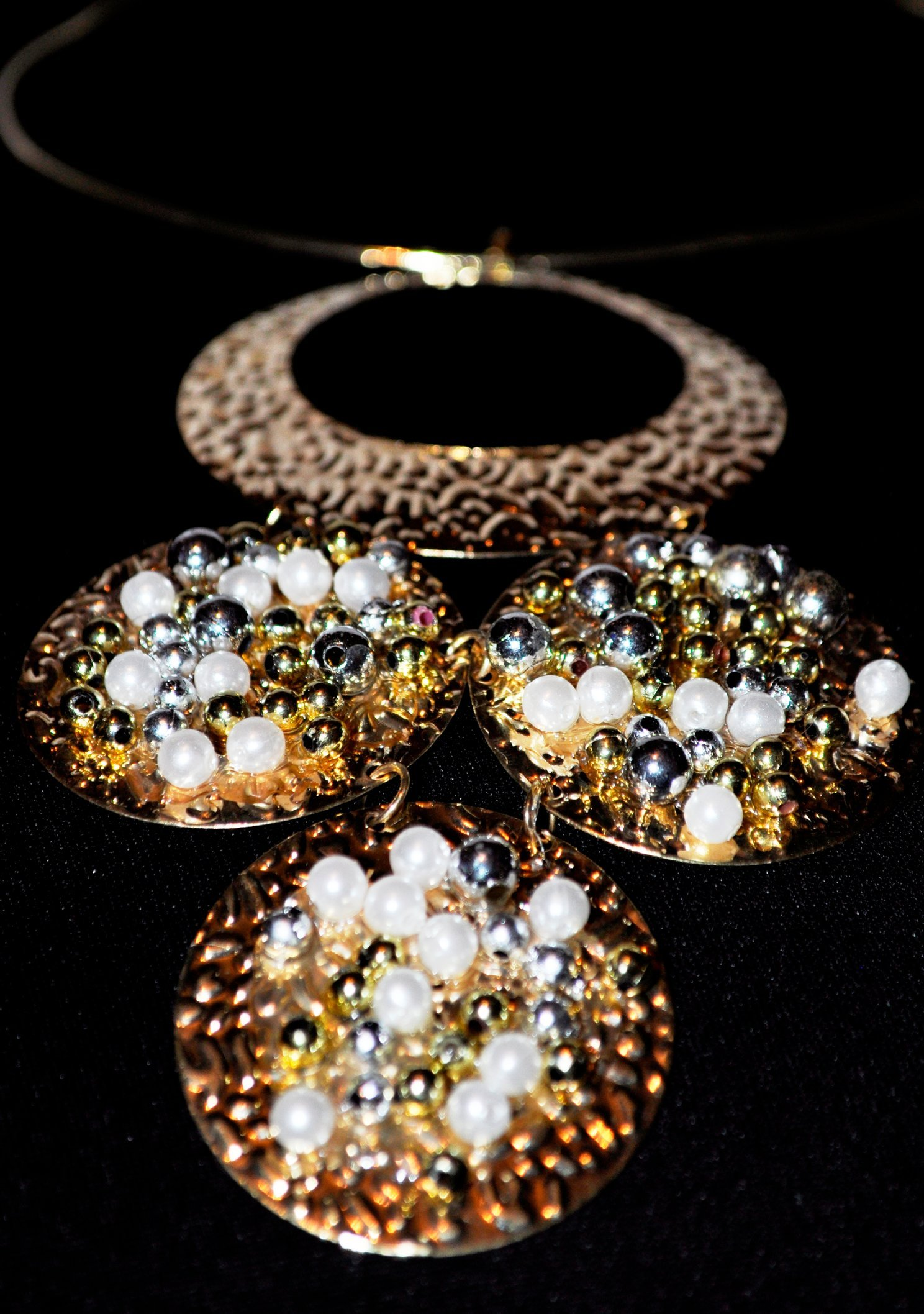 GOLD SILVER AND BEADED NECKLACE