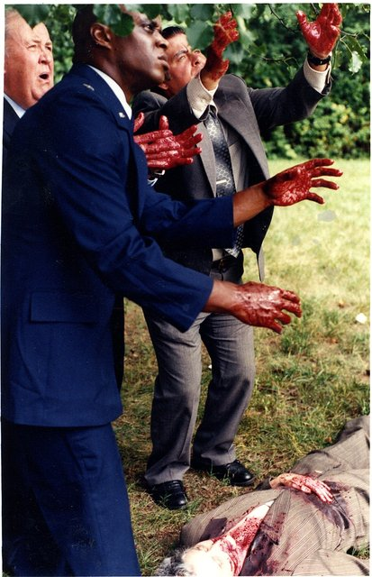 """THE HUMANS"" -  MOVIE makeup-  A pivotal death scene in the movie where I was makeup artist. PRODUCED by JOHN EDMONDS."