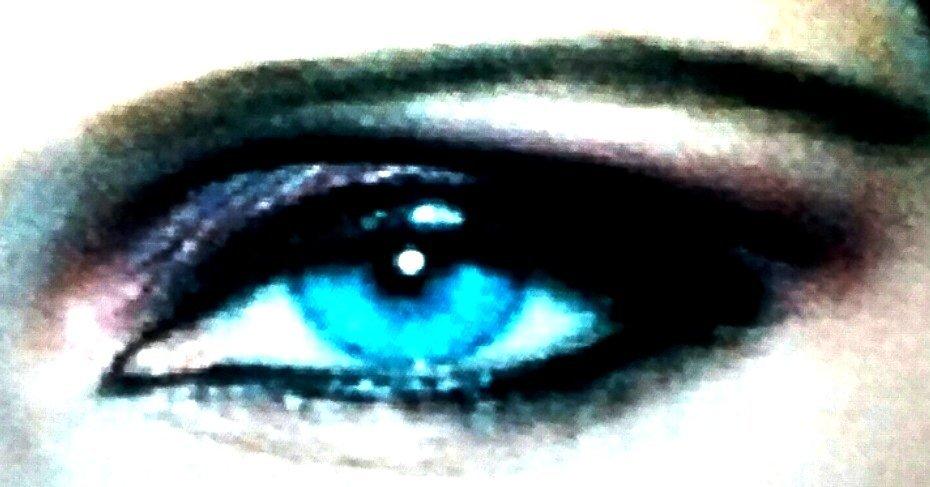 CYAN BLUE EYES WITH LAVENDER, SMOKE GRAY, BLACK SHADOWS.